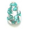 Glass Lamp Bead Pear 13x9mm Crystal/Emerald
